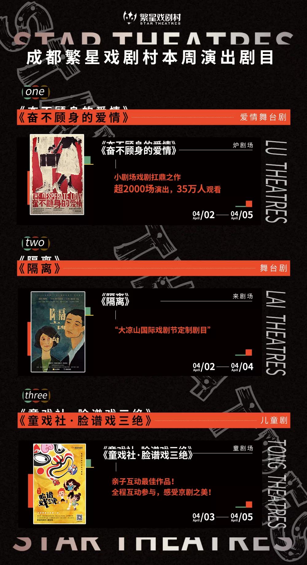 清明小长假繁星戏剧村今年首演了三场演出