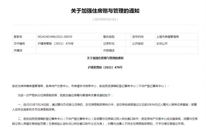 """上海限购再加码!明起住房受赠人也需""""房票"""",首套房贷利率上调至5%"""